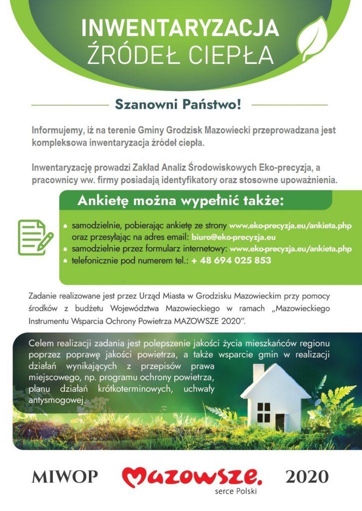 Plakat informujący o inwenteryzacji ciepła w gminie Grodzisk Mazowiecki